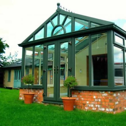 Gable conservatory in green uPVC