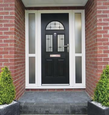 Black composite door with diamond glass design