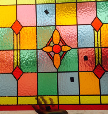 Colourful stained glass window