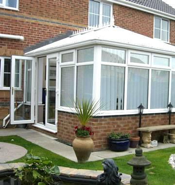 Edwardian conservatory in white uPVC