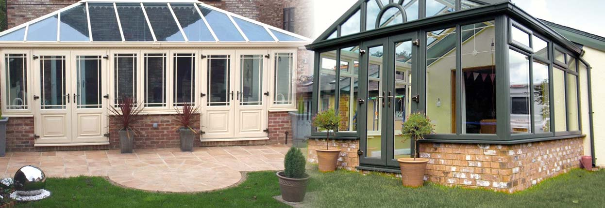 Two glamourous conservatories, in cream and white