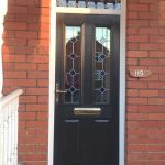 Black composite and glazed entrance door
